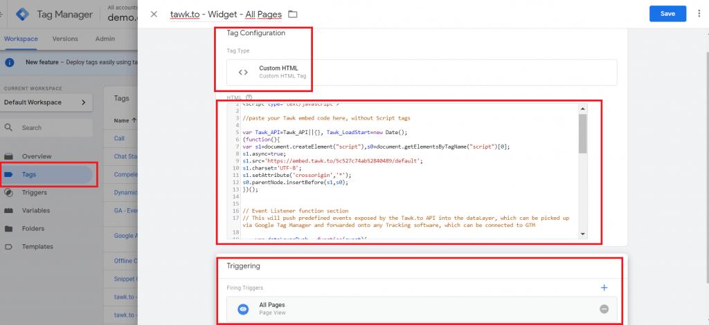 Cài đặt tawk.to lên web site bằng Google Tag Manager